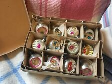 VINTAGE ANTIQUE MERCURY CONCAVE CHRISTMAS BAUBLES 12 IN TOTAL ORIGINAL BOX