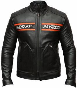 Men Cowhide WWE Goldberg Bill Harley Davidson Motorcycle Biker Leather Jacket