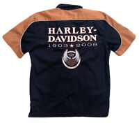 Harley Davidson 105th Anniversary Short Sleeve Button Up Shirt Motorbike Medium
