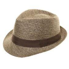 Mens Womens Ladies Straw Style Trilby Fedora Pork Pie Sun Summer Hat Brown 58cm