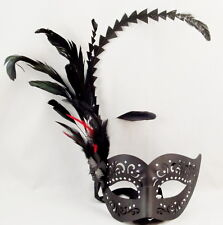 Venetian Masquerade Black Mask Leatherette With Feathers