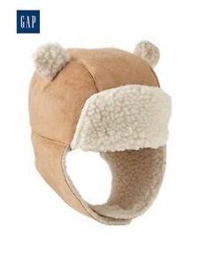 NWT Sz. 12-18 months GAP Baby Boys / Girls Sherpa Ivory Trapper Bear Hat w Ears
