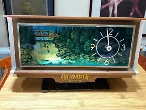 Vintage Olympia Beer Lighted Waterfall Motion Cash Register Bar Clock Working