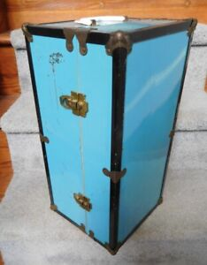 """Vintage Metal Blue  Doll Clothes & Doll Trunk for Up To 18"""" Doll"""