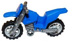 LEGO - Minifig Vehicle - Motorcycle / Dirt Bike - Flat Silver Chassis - Blue