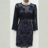 KAREN MILLEN Black 3D Floral Lace Embroidered Cocktail Party Tunic DRESS 8 UK 36