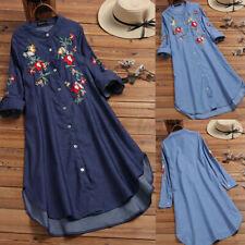 Женская повседневная вышивка джинсовая рубашка мини-платье с пуговицами длинные топы блузка новый