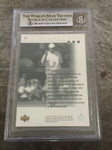 2001 Upper Deck SP Authentic Golf Sample Preview #21 Tiger Woods RC Card BGS 8.5