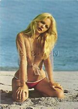 Original 1960s German Pinup PC- Nude Blond Woman- Bikini Bottom- Sheer Top Only