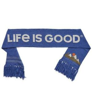 Life is Good Life Heather Blue Reversible Fringe Cozy Mountain Scenic Scarf NEW