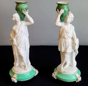 Wonderful Classical Figures Parian Candlesticks Antique, Footed Pair