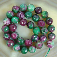 8mm Natural Faceted Ruby Emerald Round Gemstone Loose Beads 15''AAA+++