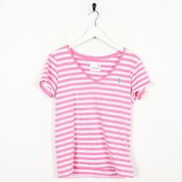 Vintage Womens RALPH LAUREN Striped V-Neck T Shirt White Pink | Small S