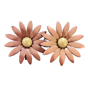 Vintage 1960s Moonglow Pink Daisy Two-Piece Belt Buckle