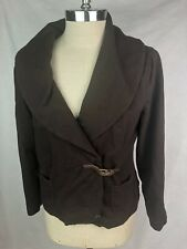 Ralph Lauren Brown Cardigan Sweater XL Cotton Sweatshirt Leather Buckle Pockets