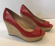 Franco Sarto Surf Red Patent Leather Peep Toe Platform Wedge Pump Womens Sz 10M