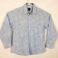 PARC 81 Light Blue w/White Paisley Flip Cuff Long Sleeve Shirt - Size Large 16½
