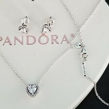 Authentic pandora elevated heart necklace  with Earrings set 925 Sterling silver