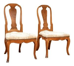 A Fine Pair of 18th Century Rococo Queen Anne Style Walnut Side Chairs