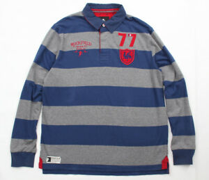 Sebastien Chabal RUCKFIELD French Rugby Club Stripe Rugby Jersey Blue Grey