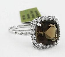 GENUINE 3.80 Ct SMOKY TOPAZ & DIAMONDS RING 10k GOLD* Free Certificate Appraisal