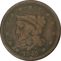 1842, 1c, Large Cent - Large Date, Braided Hair - Collectors Coin