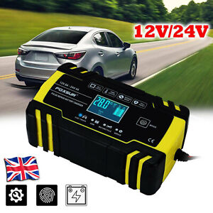 8A Smart Automatic Car Battery Charger Jump Starter Pulse Repair 12V 24V AGM/GEL