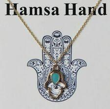 HAMSA HAND  FATIMA GOOD LUCK CHARM NECKLACE GIFT GOLD COLOUR HAMZA PROTECTIVE