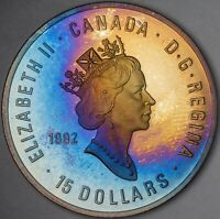 1992 CANADA SILVER 15 DOLLARS OLYMPICS UNC MONSTER TONED COLOR GEM BU (DR)
