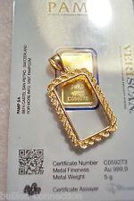 NEW CUSTOM MADE SOLID 14KT GOLD ROPE BEZEL FOR 5 GRAM PAMP SUISSE VERISCAN BAR