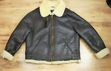 Vtg B-3 Style Genuine Shearling Sheepskin Aviator Pilot Flight Jacket Coat XL