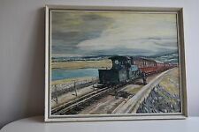 Naive Folk Art Train Engine Rural Painting Framed Vintage 55 x 44cm