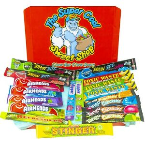 Chew Bar Selection Box British and American Sweets Candy Airheads Toxic Waste