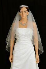 2T Ivory Fingertip 50 Rhinestone Pencil Edge Center Gathered Bridal Wedding Veil