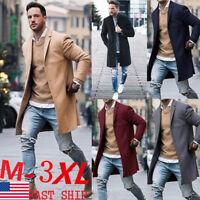Fashion Men Wool Coat Winter Trench Coat Outwear Overcoat Long Sleeve Jacket USA