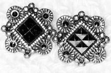 Silver/Black Colored Pierced Earrings