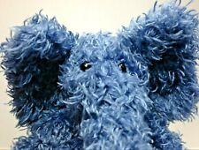 "Jellycat Elephant Junglie Bunglie Plush Blue Stuffed Animal Toy Shaggy Small 11"""