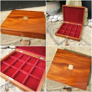 LOVELY 19c ANTIQUE SOLID MAHOGANY JEWELLERY/DOCUMENT BOX - FAB INTERIOR