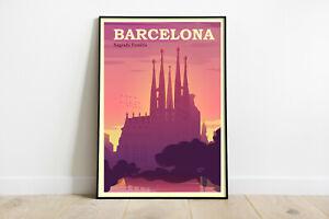 Barcelona retro travel poster, Barcelona city poster, Sagrada Familia print