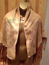 Ladies size XXL.Brown/tan faux suede.Fringed wrap,cape,poncho,shawl.Boho,hippy.