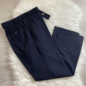 "Brook Taverner Aldwych Navy Blue Trousers 36"" Waist Tailored Wool Blend Smart"