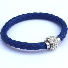 Women Unisex Wrap Wristband Cuff Punk Magnetic Rhinestone Buckle Bracelet Bangle