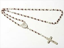 """10"""" Czech Vintage doll size brown glass bead religious rosary crucifix pendant"""