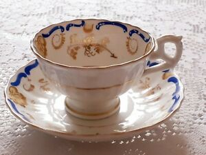 Vintage, English China,Tea Cup And Saucer,Gold,Blue,White Pattern