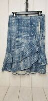 LRL Lauren Jeans Linen Cotton Denim Print Skirt Womens Size 2 Ruffles Blue White