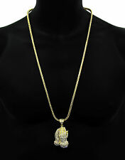 "Mens Prayer Hand Gold  Plated Pendant With 4mm 30"" Gold Franco Chain Necklace"