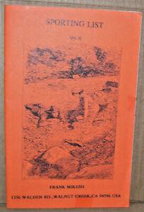 Sporting List 99-8 Frank Mikesh 52 Page Book Walnut Creek CA