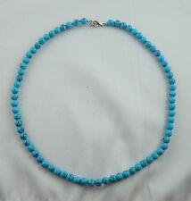 TÜRKIS REC.  MAGNESIT gefärbt Kugelkette Halskette ca. 45 cm lang 6 mm Perlen