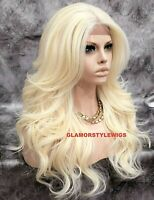 Free Part Human Hair Blend Lace Front Full Wig Long Wavy Platinum Blonde #613A