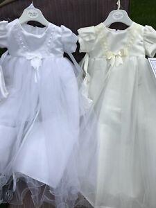 Baby Girls Christening Dress Gown White Ivory Satin 3-6 & 6-12 Mths Bonnet Long